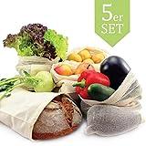 LEANDER DESIGN Stabile Obst- und Gemüsebeutel 5er Set aus 100% Baumwolle, Wiederverwendbare und nachhaltige Einkaufsnetze mit Gewichtsangabe - INKL. Brotbeutel