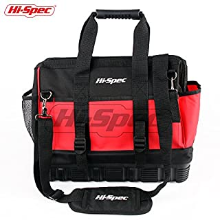 Hi-Spec Wide Mouth Tool Bag with Molded Base,24 Interior/Exterior Pockets, Shoulder Strap with Rubber Handles