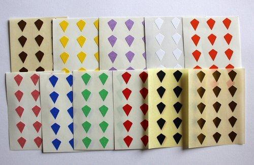Variado colores. 165 Etiquetas, 10x7mm Forma Cometa, Pegatinas Autoadhesivas, Minilabel Formas