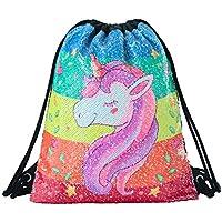 Mermaid - Mochila de Lentejuelas Reversibles con Cordón para la Escuela, Yoga, Deportes al Aire Libre, para Niñas, Mujeres y Niños, Colorful Unicorn