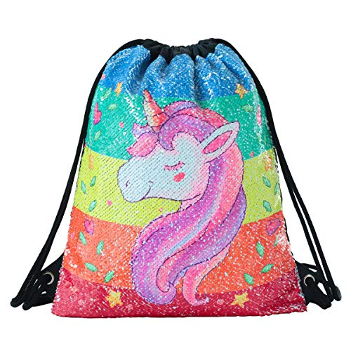 Deeplive Fashion Mermaid sacca Magic reversibile Sequin zaino Glittering Dance bag, borsa per la scuola, sport all' aria aperta per ragazze donne bambini, Unicorn