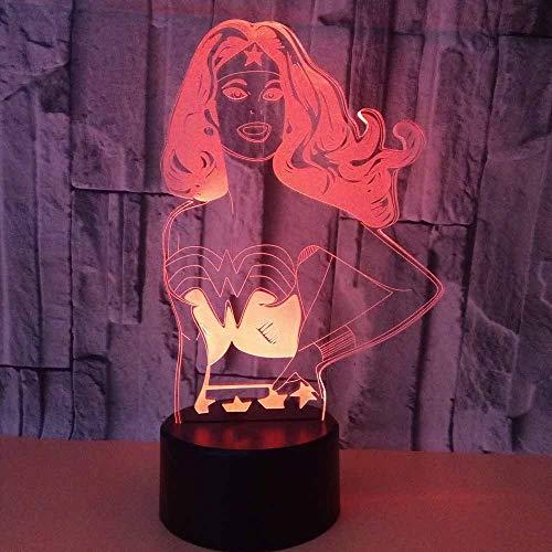 Regalos Lampara Lampada illusione 3D Led Wonder Woman Modellazione Lampada da scrivania Pad Pulsante Pulsante Super Ciao Luce notturna Luce Luce Illuminazione Illuminazione Luminaria Home Decor