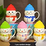 Satyam Kraft Ceramic SNOW MAN Mug With Silicon Lid Cover(1 PIECE) For Kids Mug 300 ML Christmas Mug|snow Man Mug|coffee Mug|printed Mug|mug|gift For New Year|gift For Birthday|gift|Christmas Gift Idea|gift For Friend|gift For Love One|ceramic Mug(RANDOM C