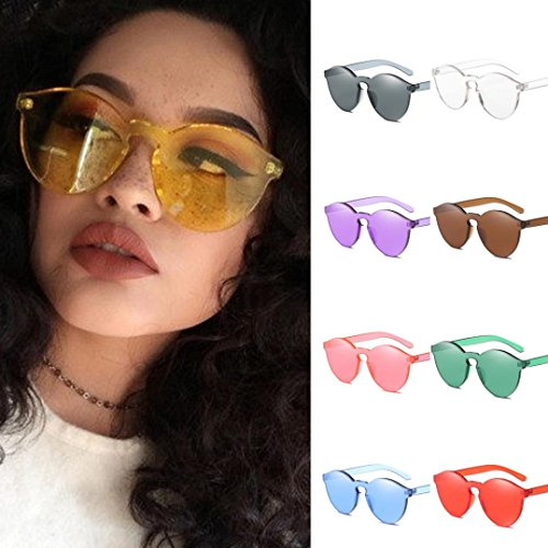 Toamen Women Fashion Candy Colored Cat Eye Shades Sunglasses Integrated UV Glasses