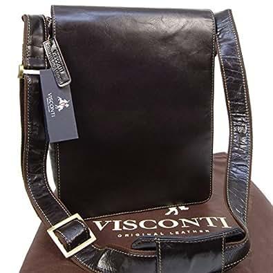 Borsa organiser in pelle Messenger Notebook/ipad Visconti 18410 - Marrone scuro