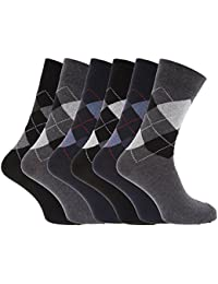 Mens Pattern Cotton Blend Argyle Socks (Pack Of 6)