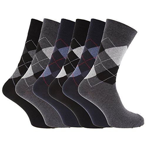 Mens Pattern Cotton Blend Argyle Socks (Pack Of 6) (UK Shoe 6-11, EUR 39-45) (Black/Grey/Navy)