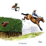 Die Hochsprung Grußkarte für Menschen Pferde, Rennen und fährt wie