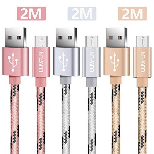 Luvfun [3-Pezzi] Cavo Micro USB, 2m Cavo USB di Nylon (Oro Rosa+Argento+Oro)
