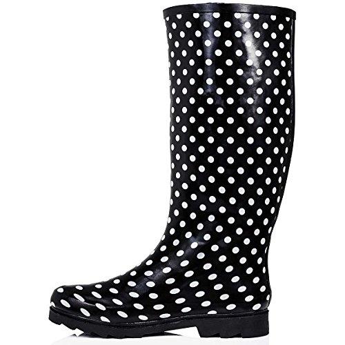 Bottes de pluie plates Pour festival Couleurs assorties Noir Fleur Court