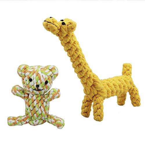 2-Pack Qualit?t sicher Scho?Hund Seil kauspielzeuge Kit liefert f¨¹r Kleine bis Mittlere rassen, Hunde hilfsmittel (b?r + Giraffe) (2 Knoten Seil)