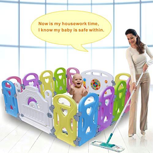 Laufgitter Laufstall Baby Absperrgitter Krabbelgitter Schutzgitter für Kinder aus Kunststoff mit Tür und Spielzeugboard (Love 14-Paneele)