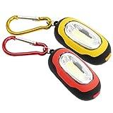 com-four® 2X magnetische Mini LED Taschenlampe mit Karabiner, in rot und gelb, 3 Leucht-Modi (02 Stück - rot/gelb)