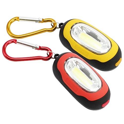 Com-four ® magnetica mini led torcia con moschettone, in diversi colori, 3modalità di illuminazione 02 stück - rot/gelb
