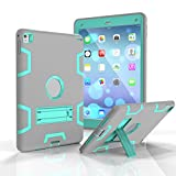 Aohro Custodia Antiurto per Apple iPad Pro 9.7/iPad Air 2 Custodia protettiva antiurto Custodia in plastica di silicone Hybrid Case Cover con Supporto, Verde + Grigio