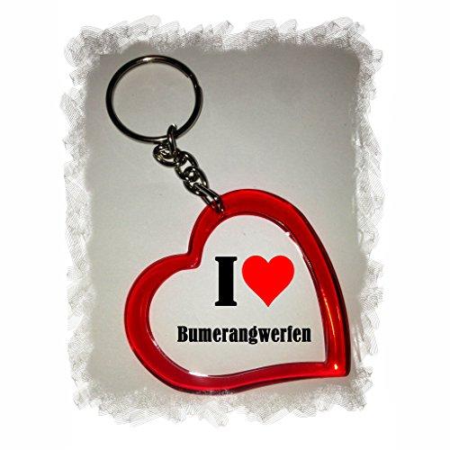 """Exklusive Geschenkidee: Herzschlüsselanhänger """"I Love Bumerangwerfen"""", eine tolle Geschenkidee die von Herzen kommt - Rucksackanhänger- Liebesanhänger- Weihnachts Geschenktipp"""