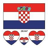 Yiwa 2018Russland FIFA World Cup National Flagge Tattoo Aufkleber Temporäre Umweltfreundlich Wasserdicht Tattoos, 047-Croatia, 60*60mm