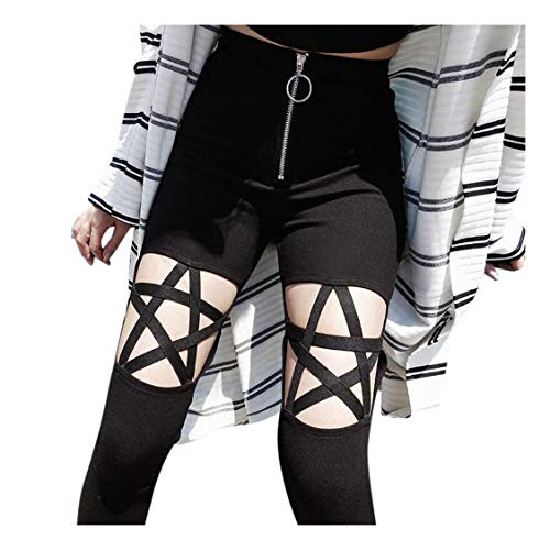 exy Punk Hosen Piebo Frauen Frühling Sommer Bandage Gothic Skinny Leggings Hollow Pentagramm High Waist Hose Pants Bequeme Lang Trousers Halloween Karneval Festlich Party ()
