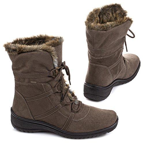 ARA MS-GT 12-48523-05 Damen Schnürstiefelette Komfort Warmfutter TEAK,NATUR