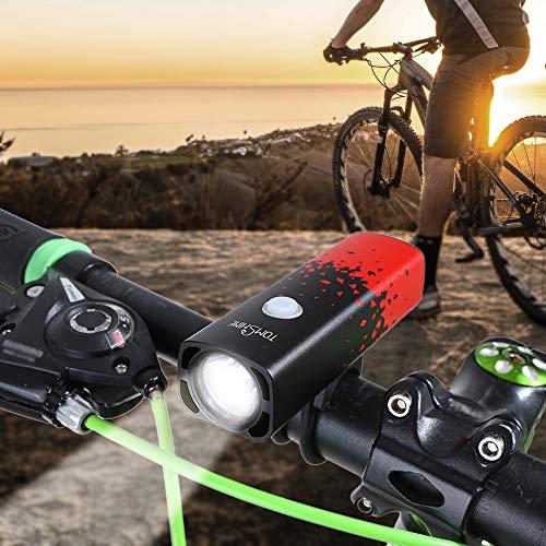Luces Bicicleta LED,Tomshine Luz Bicicleta Conjunto de Luces Delantera&Luz Trasera Bicicleta 5 Modos Brillo Ajustable,Impermeable IP65 With USB Batería Recargable 2000mAh,Accesorios Bicicleta Montaña