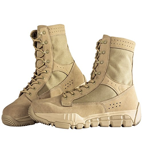 FREE SOLDIER Botas Militares Piel de Ante para Hombre, Corte por Encima del Tobillo, Transpirables, Ligeras, Ideales para Senderismo, Hombre, Sand Color,42