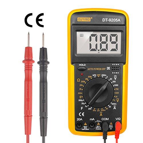 SPEED Multimeter Voltmeter Amperemeter Ohmeter Digital LCD Messgerät Tester DT9205A Spannungsmesser, Stromprüfer, Widerstand, Strommessgerät AC 750V DC 1000V inkl. 9V Batterie mit 2 x Prüfleitungen (test leads) (Test-batterie Multimeter)