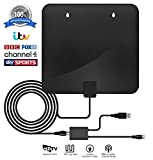 TV Aerial, Freeview Indoor TV Aerial, 60+ Miles Range Aluminum Foil Amplified Indoor Digital HDTV Aerial Antenna for TV with 1080P VHF/UHF/FM Strong Reception, TV Booster Aerial Amplifier with 10FT High Performance Coax Cable Assembled