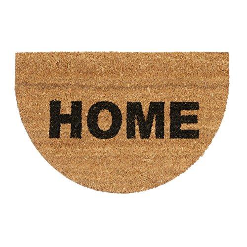 Relaxdays Fußmatte halbrund Kokos mit Spruch HOME 60 x 40 Kokosmatte aus Natur Faser als Türmatte mit rutschfestem Gummi-Boden für Innen und Außen Fußabtreter als Sauberlaufmatte und Abtreter, natur