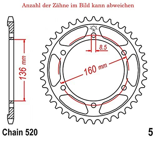 Preisvergleich Produktbild jtSprockets Kettenrad Tuareg 600 Wind 1988-1991 43 Zähne JTR5-43