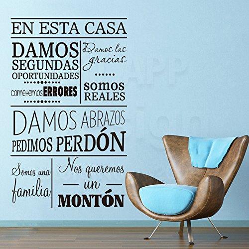 Art New Design Haus Dekor Vinyl Spanisch Home Regeln Wörter Wandtattoos abnehmbare Raumdekoration Familie Zitat Charakter Aufkleber 58x94cm (Wörter Spanisch Halloween)