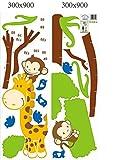 Rainbow Fox XL! Affe Baum Growth Chart, Maßband Messlatte Wandtattoo Wandaufkleber Wandsticker Kinderzimmer Geschenk -