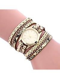 Vovotrade estilo bohemio de estilo tejido pulsera de cuero mujer reloj de pulsera (dorado)