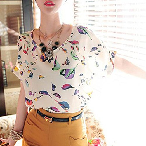 ROPaLIA d'été en mousseline de soie pour femme Fille-shirt ample à manches longues chauve-souris Tops Multicolors Blanc - Imprimé oiseaux