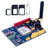 DollaTek SIMCOM SIM900 GSM GPRS Quad-Band Modules 2G Entwicklungs-Shield Board für Arduino UNO R3 Mega mit Antenne und Nano SIM Adapter