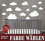 WOLKEN SET 14x Wolke Wandtattoo Wandaufkleber Sticker Aufkleber Wand Himmel Baby (Wolkenset 14 Teilig, Weiß)