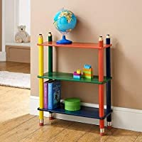 AJ 3 Tier Shelve Shelf Kids Pencil Bookcase Furniture CD DVD Book Storage