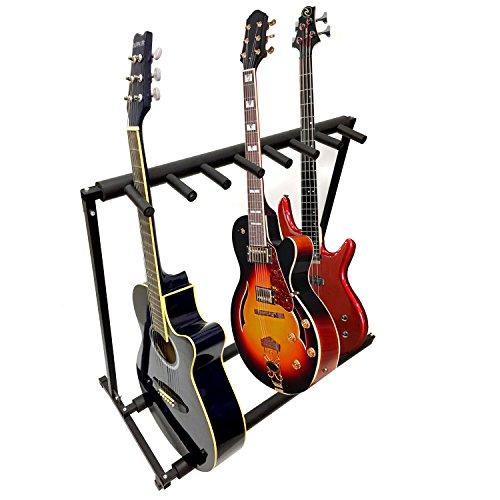 7Gitarre, Schwarz aus Metall Gepolsterte zusammenklappbar Ständer, tragbare elektrische und akustische Gitarre Stage Rack