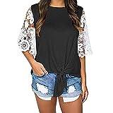 TianWlio Langarm Bluse Damen Frauen Mode Lässige Lange V-Ausschnitt Langarm Blumendruck T-Shirts Tops Bluse