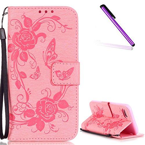 Blumen Hülle für iPhone 7,Leder Hülle für iPhone 7,iPhone 7 Schwarz Leder Handy Tasche Wallet Case Flip Cover Etui für iPhone 7 4.7 Zoll 2016,EMAXELERS iPhone 7 Case Leder Leather Solid Schmetterling  I Butterfly Flower 3
