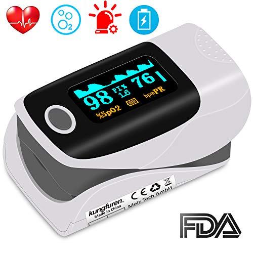 kungfuren Pulsoximeter, OLED Fingeroximeter Sauerstoffsättigung Messgerät Messen Finger mit Alarm und Auto-Off-Funktion Tragbares Oximeter für SpO2 und Herzfrequenz