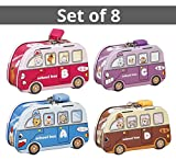 #7: TiedRibbons Set of 8 toys bus shape metal money banks for kids Birthday Party Return Gift Sets