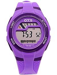 OTS - Reloj Digital Deportivo Impermeable Luminoso de Cuarzo con Alarma Cronómetro para Niños Niñas y Estudiantes - Color Púrpura