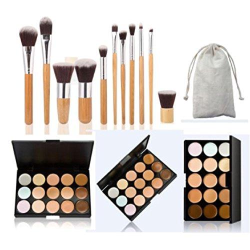 Vovotrade 15 Couleur Visage Concealer Palette Contour Camouflage Cream 11 PC Bamboo Brush Set