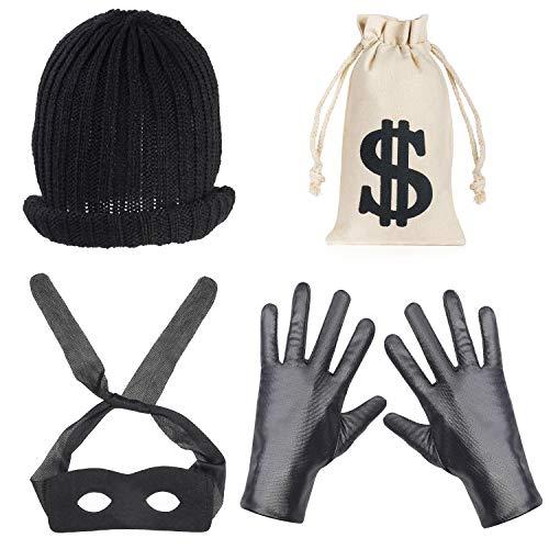 Paar Räuber Kostüm - Beefunny Räuber Kostüm Einbrecher Kostüme Kostümzubehör Black Eye Mask Handschuhe Geld Tasche Kordelzug Dollarzeichen Symbol für Geschenk Spielzeug Parteibevorzugung (C)