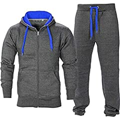 Idea Regalo - Juicy Trendz Uomo Athletic lunghi Selves pile Zip intera palestra tuta da jogging Set usura attivo Charcoal/Blue S