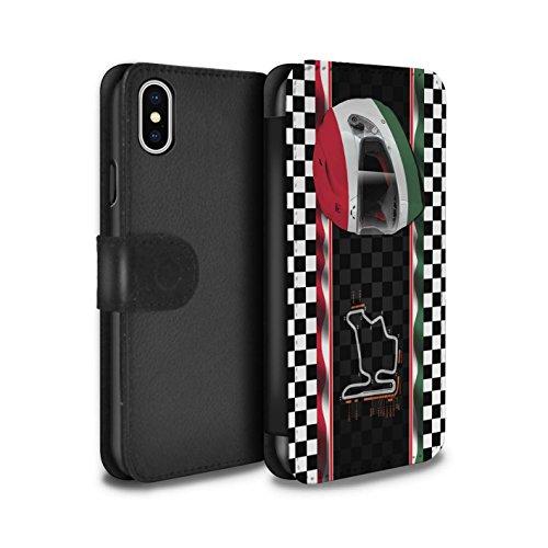 Stuff4 Coque/Etui/Housse Cuir PU Case/Cover pour Apple iPhone X/10 / Brésil/SãoPaulo Design / F1 Piste Drapeau Collection Hongrie/Budapest