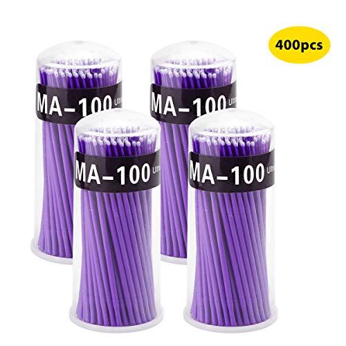 Surplex 400 micro applicatori pennelli usa e getta per extension ciglia per trucco, nail art e pittura, orali e dentali (viola)