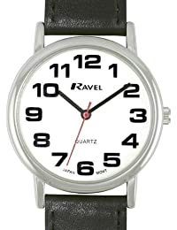 Ravel Men's Classic White Dial Black PU Strap Watch R0105.06.1