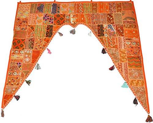 GANESHAM indischer Heimdekoration, Ethnische Wandbehang Vintage Patchwork Tür Volant handbestickt Fenster Volants Perlen-Türaufsatz Toran