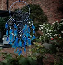ILU Dream Catcher Wall Hanging Handmade Beaded~ 1 Big and 4 Small Circular Net with Feather Decoration Ornaments Size 21cm Diameter Blue